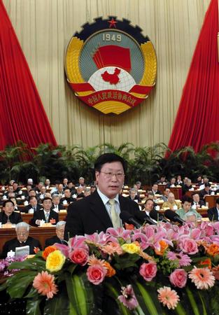 韩忠朝在全国政协第三次全体会议上发言(图)