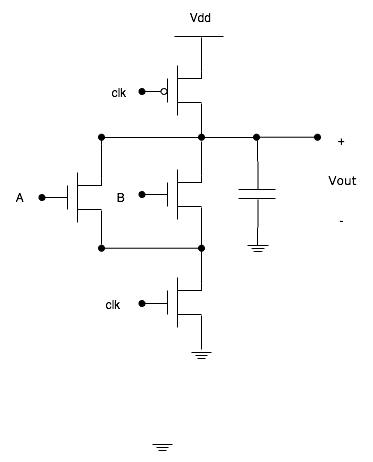 电路工作的方式如下:输入首先被作用于提供了时钟的晶体管之间的逻辑