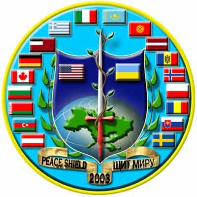 """图为多国""""和平盾牌""""军演的标志;-美导演两大军演 和平盾牌紧贴乌"""