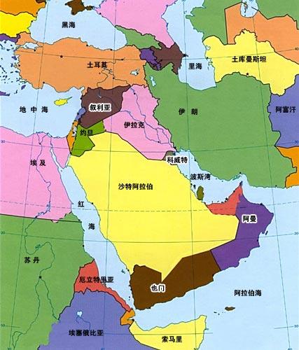 图文:中东地区行政地图