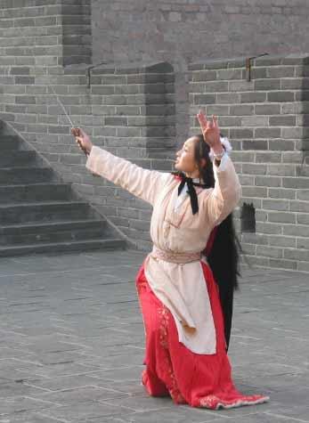 古典美女 手绘 舞剑