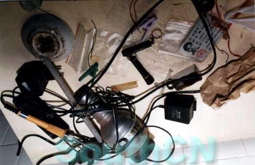 制作简易爆炸物_图文:犯罪嫌疑人林国坚身份证及制造爆炸物的工具