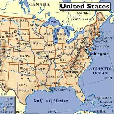 美国东部地图