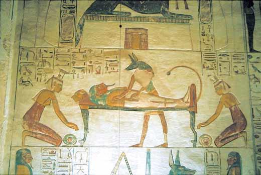 埃及法老壁画-木乃伊制作 拉美西斯二世 胶带全包活人图片