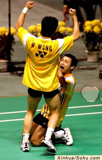 九运会羽毛球男子双打决赛张尉 王伟获冠军